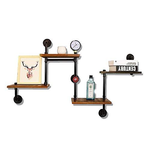 Mensola a muro galleggiante in legno, mensola sospesa rustica a 4 piani per camera da letto, soggiorno, corridoio, cucina e bagno, wallboard design industriale, 120x75cm