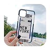 Funda antigolpes para iPhone 11, 11Pro, XS, Max, XR, 7, 8 Plus, código de barra, tarjeta de embarque, a prueba de golpes, funda, silicona, nueva york, For iPhone 7