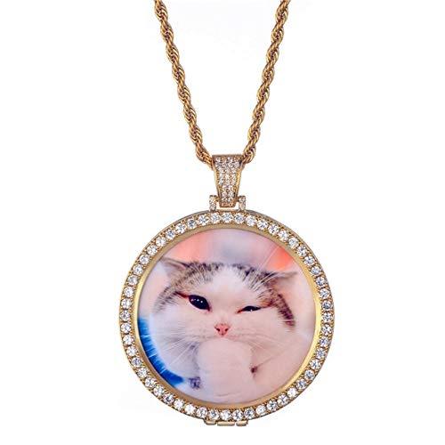 RQZQ halsketting rond foto aangepaste halsketting medaillons koper tennis ketting zirkoon afbeelding halsketting tennis ketting goud