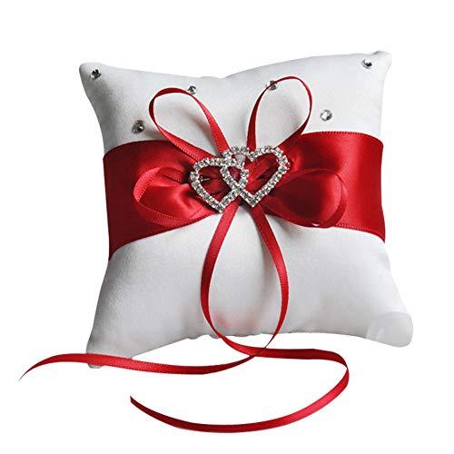 mogist Hochzeit Ring Kissen Träger mit doppelter Herzform Strass Dekoration 10*10cm rot