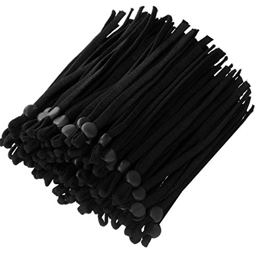400 Pieces Elastic Band Cord with Adjustable Buckle Stretchy Earloop Lanyard Earmuff Rope Sewing Elastic Cord with Adjustable Flat Buckles for DIY Craft Making Supplies (Black)