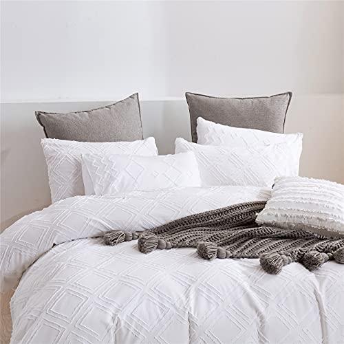 GuLL Juego de ropa de cama de 3 piezas, con diseño de flores cortadas, 228 x 228 cm, con 2 fundas de almohada de 50 x 66 cm, para todas las estaciones, color blanco