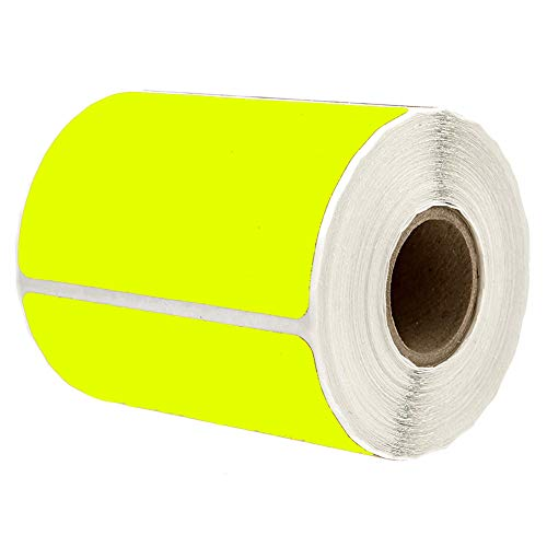 """2"""" x 3"""" Yellow Rectangle Color Coding Labels - Square Color-Code Stickers Permanent Adhesive, Write-On Surface - 250 Labels/per Roll"""