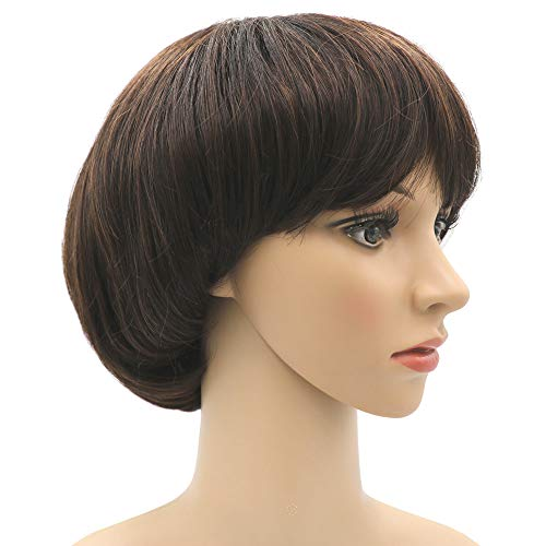 Afro Girls Cosplay Mushroom Wig Short Haircut With Bangs Bob Wig For Black Women (Brown)
