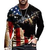 Camisetas Estampadas con la Bandera Americana para Hombre Camiseta Informal de Manga Larga con la Bandera de EE. UU. 4 de Julio