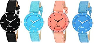 Unique Collection White Analogue Women's Watch, Combo Set of 4