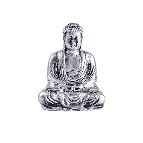 OCGDZ Vintage Sentado Buda jardín Estatua Buda Figura Estatua Ornamento Resina meditación Oficina Oficina y jardín decoración (Color : Silver)