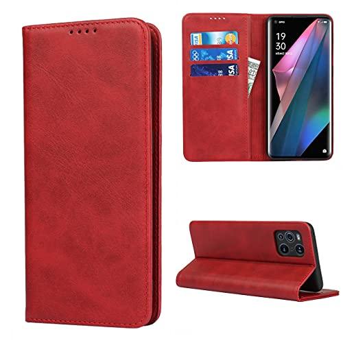 Copmob Hülle Oppo Find X3 Pro/X3,Flip Leder Brieftasche Handyhülle,[3 Kartensteckplatz][Magnetverschluss][Ständerfunktion],Klapphülle Ledertasche Schutzhülle für Oppo Find X3 Pro/X3 - Rot