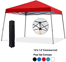 COOSHADE 12x12ft Slant Leg Pop Up Canopy Tent,Easy One Person Setup Instant Sun Protection Beach Shelter,Portable Sports Cool Cabana(Red)