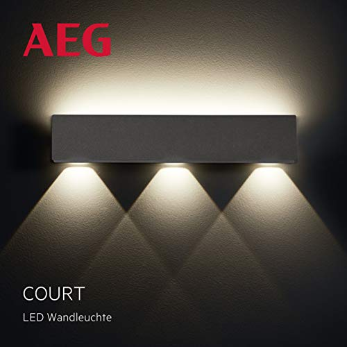 Court LED buitenlamp in antraciet, IP-beschermingsklasse: 54 - spatwaterdicht, nanotechnologie coating, 8,4 watt, 504 lumen, 3000 Kelvin
