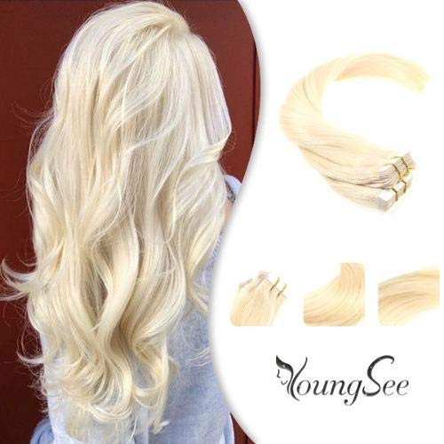 YoungSee Bleach Blonde Tape in Extensions with Seamless Skin Weft