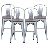 HAOBO Home 24' High Back Metal Counter Stool Height Bar Stools with Wooden Seat [Set of 4], Silver