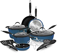 Paula Deen Family 14-Piece Ceramic, Non-Stick Cookware Set, 100% PFOA-Free and Induction Ready, Features Stay-Cool Handles, Dual Pour Spouts and Kitchen Tools (Savannah Blue)