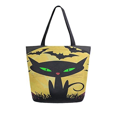 Schwarze Katze Hexen Halloween tragbare große doppelseitige beiläufige Leinwand Tote Taschen Handtasche Schulter wiederverwendbare Einkaufstaschen Duffel Geldbörse Frauen Männer Lebensmittelgeschäft