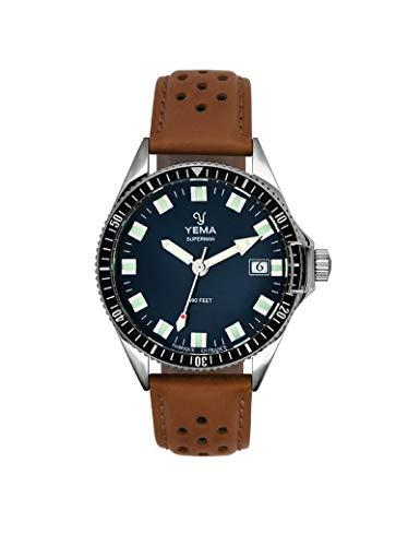 Yema - Reloj de piel para hombre, color marrón