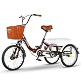 Triciclo de Adultos Triciclo Adulto Trift Bicicle Bickycle Casso De Carga De Calgo Contricicletos De Adultos 20 Pulgadas Bicicleta De 3 Ruedas Para La Recreación Bicicleta Para Mujer Para (Color:rojo)