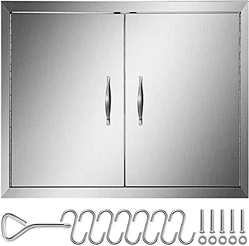 VEVOR 77x53cm Double Küche Kamintür BBQ Access Tür Edelstahl Putztür Outdoor Kitchen Door Walled Door für Außenküchen und Grillinsel