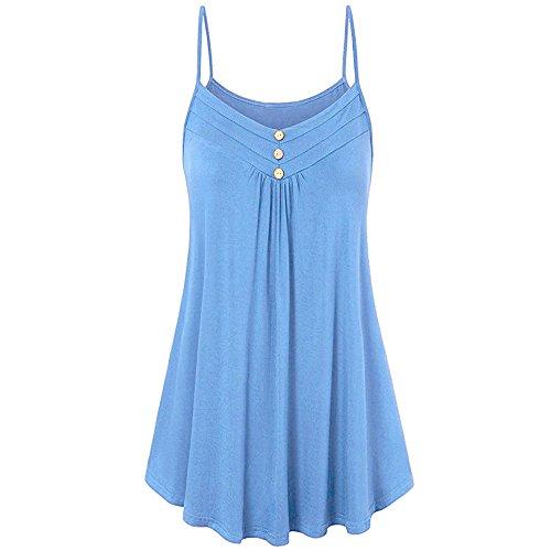 ESAILQ Damen Frauen Casual Kurzarm Stretch Falten Tunika Bluse Sommer Obteile mit Knöpfen V-Ausschnitt Ladies Shirt mit Gummizug Am Saum(M,Blau)