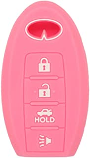 SEGADEN Silicone Cover Protector Case Skin Jacket fit for INFINITI 4 Button Smart Remote Key Fob CV4508 Pink