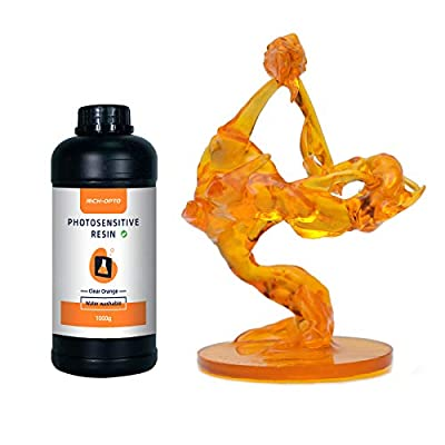 RICH-OPTO Water Washable LCD 3D Printer Resin UV Curing 405nm Quick Printing Speed Low Odor High Accuracy Photopolymer 1kg Orange with Silicone Funnel (DIY Mixed with The Non-clear Same Series Resin)