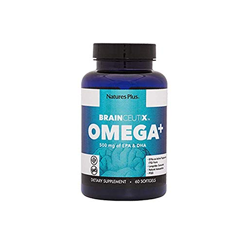 BrainCeutix by NaturesPlus Omega 3 and Omega 6 Fish Oil Supplement with DHA & EPA, 60 Softgels