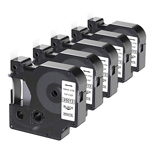 Camopro Replacement for Dymo D1 Label Tape 45013 S0720530 Black on White 1/2 Inch (12mm) x 23 Feet (7m) for DYMO Label Manager 160 210D 260P 280 360D 420P 450D Label Maker, 5 Pack