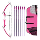 Genesis Archery Original Compound Bow (Left Hand, Pink) with Case and Six NASP...
