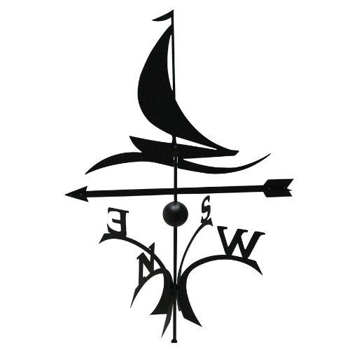 Wetterfahne Segler 69,5x120cm schwarz Stahl kugelgelagert Windspiel Whirligig