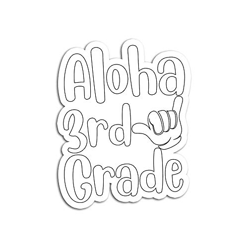Decal Stickers for Laptop Sticker for Tumblers Aloha 3rd Grade Back to School Hawaii Shaka Cool Hawaiian Waterproof Decal Perfect for Phone Water Bottle Vehicles (5 Pcs/Pack)