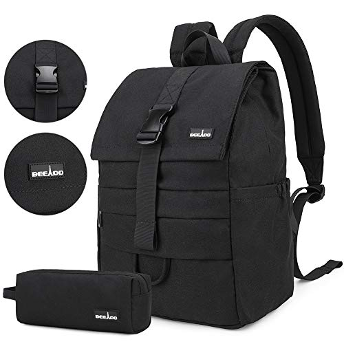 Vintage Waterproof Laptop Backpack, Business School College Backpack Computer Notebook Bag for Women Men - Black - 15.6'