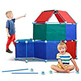 Fort Building Kit with Blanket for Kids, 120 Pieces for 5,6,7 Year Old Boys and Girls to Build a Fort Tent Castle Rocket Tower with Ultimate Fort Builder Magic Cover Indoor and Outdoor
