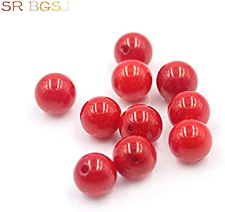 Calvas 10pcs 8mm Natural 3A Grade Half Drilled Hole Round Shape Natural Genuine Red Coral Loose Beads