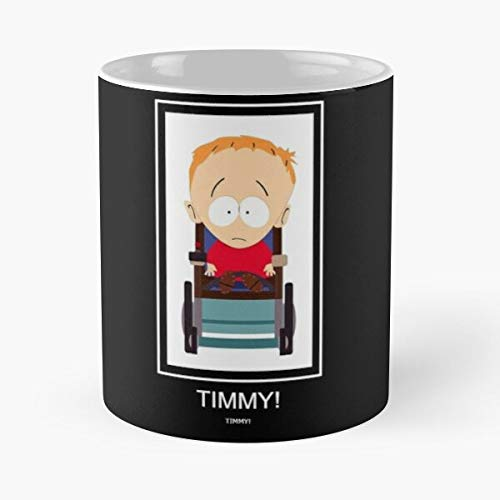 FitinC Show Handicar Animated Timmy Park South TV Best Mug Tiene 11oz de Mano Hechas de cerámica de mármol Blanco