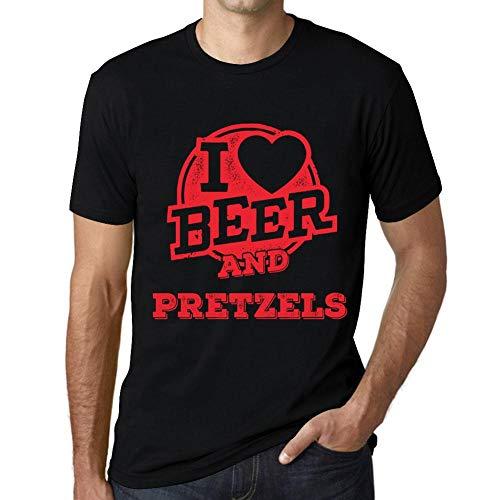 One in the City Hombre Camiseta Vintage T-Shirt Gráfico I Love Pretzels Negro Profundo Texto Rojo