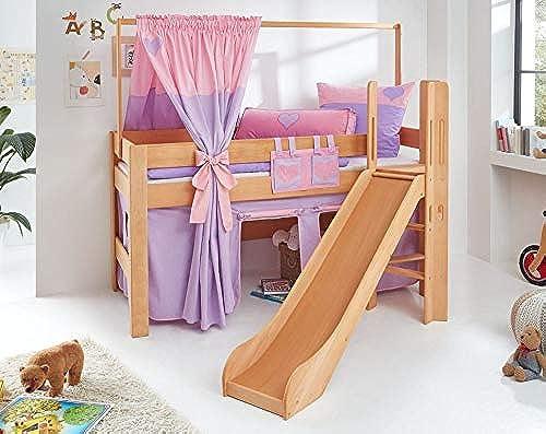 Froschk g24 Hochbett Leo Kinderbett mit Rutsche Spielbett Bett Natur ge  Lila Rosa Herz, Matratze ohne