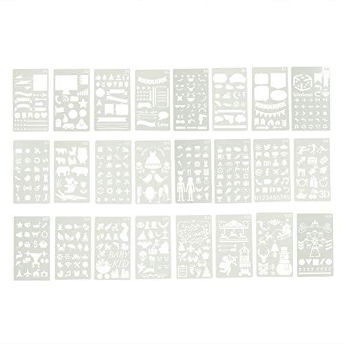 HEALLILY 24 Fogli di Plastica Stencil Disegno Modello Diverso Stencil Pittura Disegno Scala Modello per Carta Fai da Te Fare Segnalibro Diario