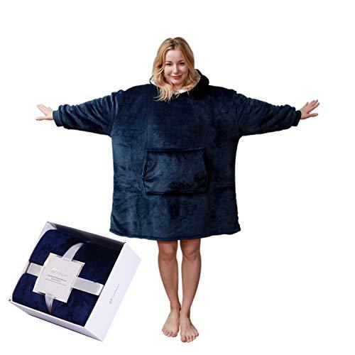 softan Sherpa huvtröja sweatshirt filt överdimensionerad framficka jätte plysch pullover med huva mysig bekväm för vuxna män kvinnor, en storlek passar alla