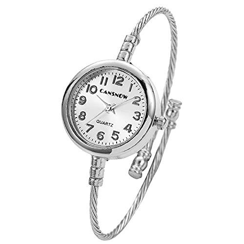 OWZSAN Mujeres Relojes de Mujer Moda Strap de Acero Inoxidable Reloj de Pulsera de Cuarzo Dorado Vestido de Damas Reloj Relojes Relojes Reloj Regalo Reloj Digital (tamaño : Silver)