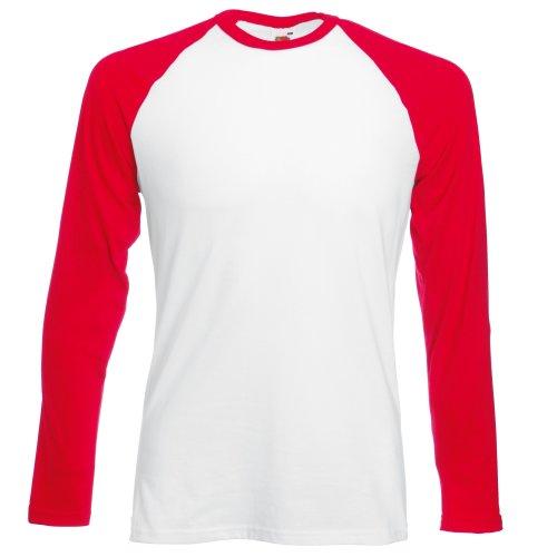 Fruit of the Loom T-Shirt de Baseball à Manches Longues pour Homme (S) (Blanc/Rouge)