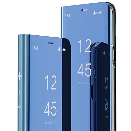 MRSTERUS 케이스웨 P20 경우 고급스러운 MIRROR 디자인 투명한 비전을 도금층 브라켓 긁힘 방지 전체 몸을 보호 커버의 매우 얇은 화 P20 거울:블루 N