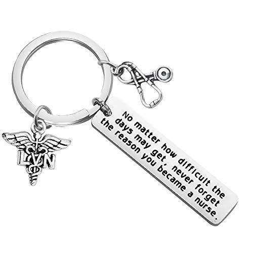 FUSTMW Nurse Gift Nurse Keychain RN Charm Nursing Graduation Gift Medical Jewelry Nurse Inspirational Gifts (LVN Keychain)
