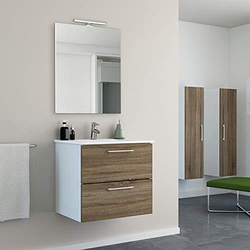 Randalsa Mueble de baño Moderno Start 60 cm   melamina Acabado Madera de Roble   60 x 53 x 45 cm Mueble + Lavabo cerámica + Espejo   2 cajones