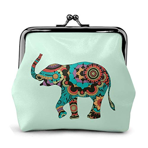 Elephant with Oriental Decor Leather Buckle Coin Purse Cute Change Pouch Wallet