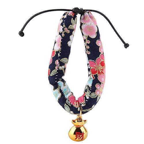 Zerodis Collar para Animales Domésticos Corbata Ajustable Estilo Japonés Hecho Mano impresión Floral Gato Perro Collares Campana con Fortune para Gatos pequeño Perro Poodles