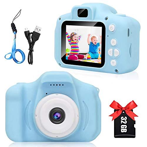 Cámara Digital para Niños, 8MP Digital Cámaras Fotos Infantil Digitales Selfie, 1080P HD Video Pantalla de 2 Pulgadas con Tarjeta TF 32GB Regalos Juego Cámara para niños de 3 a 12 años (Azul)