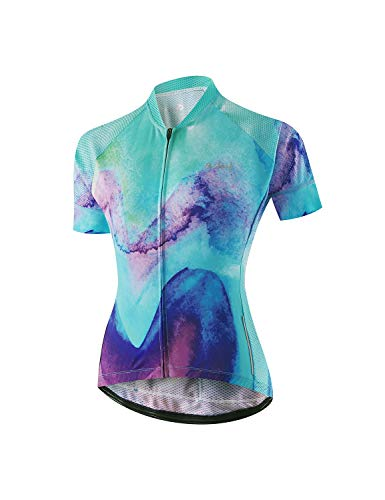 BALEAF Womens Cycling Jersey Short Sleeve Road Bike Shirt Bicycle Biking Tops 4 Rear Pockets UPF50+ Ink Painted M
