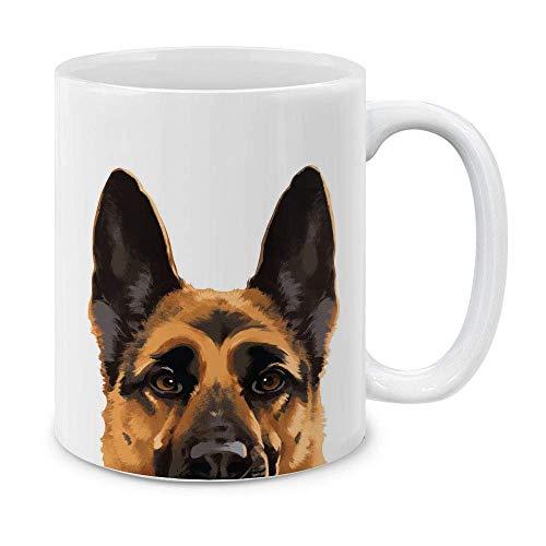 Taza de café de cerámica con diseño de pastor alemán de color negro