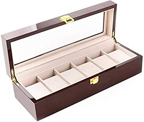 Feibrand Uhrenbox Holz 6 Uhren Uhrenschatulle (Braun)