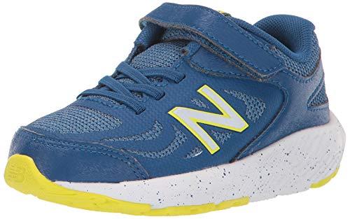 New Balance Boys' 519v1 Running Shoe, Andromeda Blue/Chambray/Sulphur Yellow-Hook and Loop Closure, 5 W US Toddler