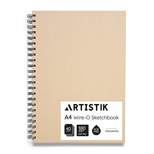 A4-Skizzenbuch - (Packung mit 1, 80 Seiten,40 Blatt) Wiro-O-Portrait-Zeichenblock für schwere Mischtechnik mit perforiertem säurefreiem 180-g-m-Papier und Kraftumschlag-Skizzenbuch
